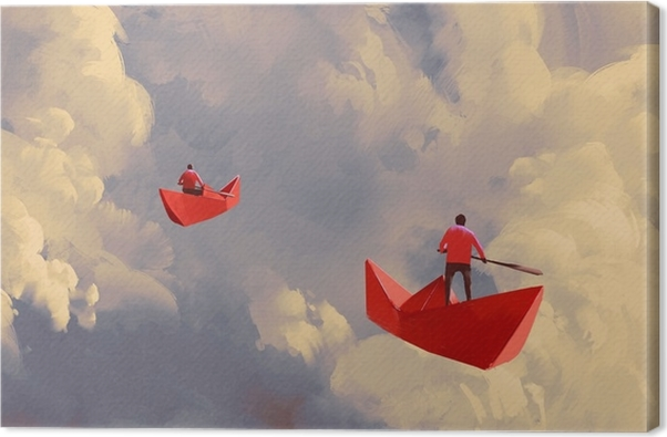 Men On Origami Red Paper Boats Floating In The Cloudy Sky