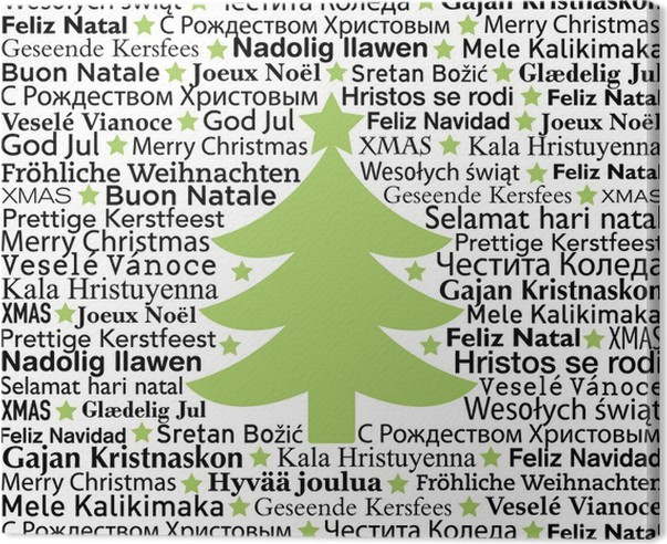 merry christmas in different languages typographic background canvas print