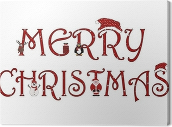 Merry Christmas Sign With Animations - Isolated on white Canvas Print