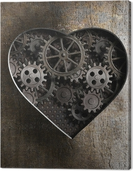 metal heart with rusty gears and cogs Canvas Print