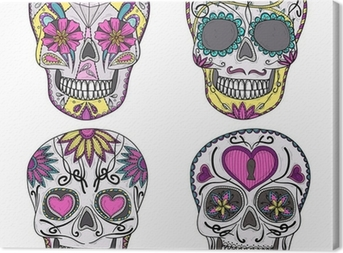 Mexican skull set. Colorful skulls with flower and heart ornamen Canvas Print