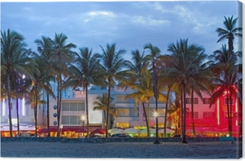 Miami Beach, Florida hotels and restaurants at sunset Canvas Print