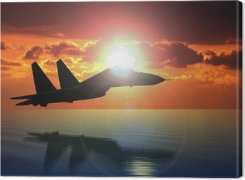 Military Aircraft Flying on Bright Sun Canvas Print