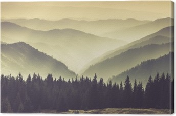 Misty mountain hills Canvas Print