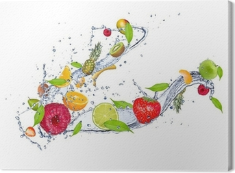 Mix of fruit in water splash, isolated on white background Canvas Print