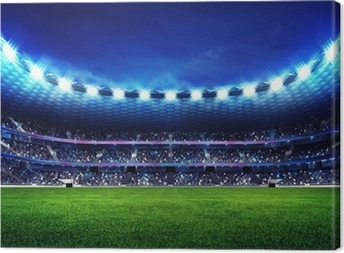 modern football stadium with fans in the stands Canvas Print