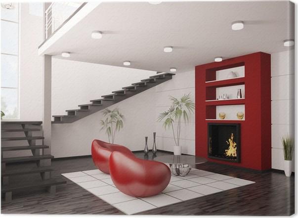 Modern Interior Wohnzimmer Mit Kamin Und Treppe 3d Render Canvas Print