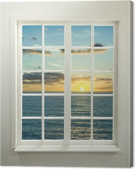 Modern residential window with sunset over sea and clouds Canvas Print