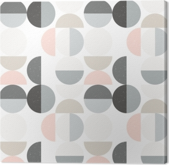 Modern vector abstract seamless geometric pattern with semi circles and circles in retro scandinavian style Canvas Print