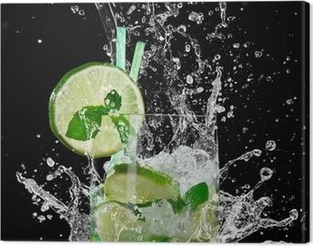 mojito cocktail over black Canvas Print