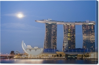 Moon over Marina Bay Sands Canvas Print