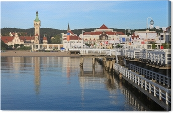 Morning in the holiday resort of Sopot, Poland. Canvas Print