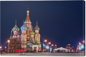 Moscow St. Basil's Cathedral Night Shot Canvas Print