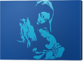 Mother Mary with Jesus Christ in blue Canvas Print