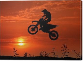 Motocross im Sonnenuntergang Canvas Print