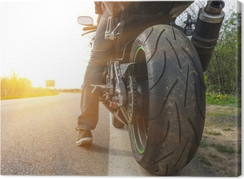 motorbike on the side of the street Canvas Print