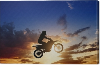 Motorcircle rider silhouette Canvas Print