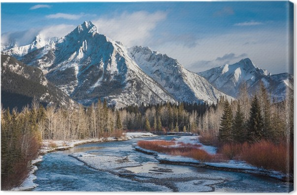 mount lorette and kananaskis river alberta canada canvas print