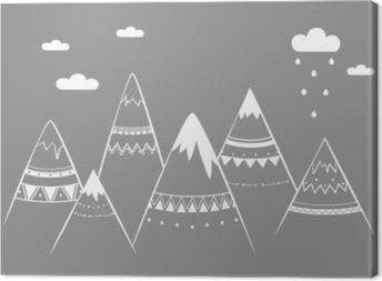 Mountain kids, hand drawn vector illustration Canvas Print