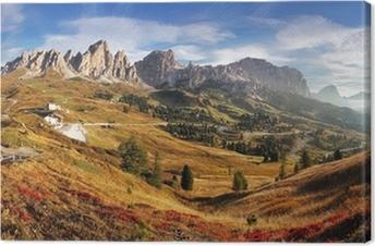 Mountain panorama in Italy Alps dolomites - Passo Gardena Canvas Print