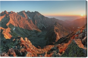 Mountain sunset panorama from peak - Slovakia Tatras Canvas Print