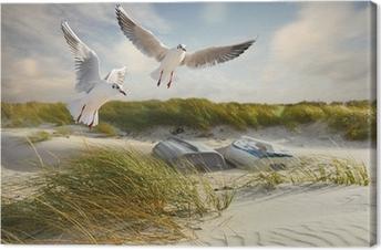 Möwen, Dünen und Fischerboote Canvas Print