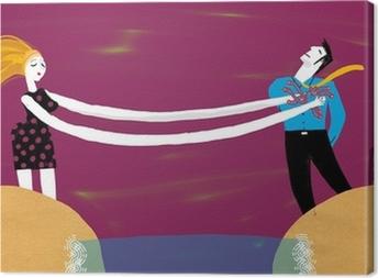 Mujer y hombre separados Canvas Print