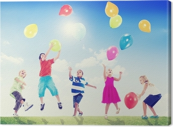 Multi-Ethnic Children Outdoors Playing With Balloons Canvas Print