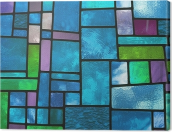 Multicolored stained blue glass window, square format Canvas Print