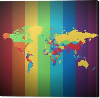 Multicolored world map wall mural pixers we live to change multicolored world map canvas print gumiabroncs Image collections