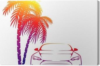 muscle car near the palm Canvas Print