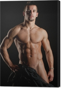 Muscular young sexy naked man wrapped in silk Canvas Print
