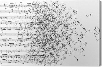 music notes dancing away Canvas Print