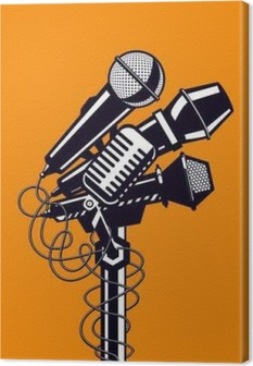Music poster with microphones. Canvas Print