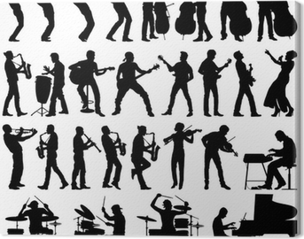 Musicians vector silhouettes Canvas Print