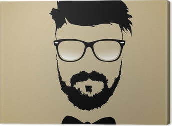 mustache beard glasses hairstyle Canvas Print