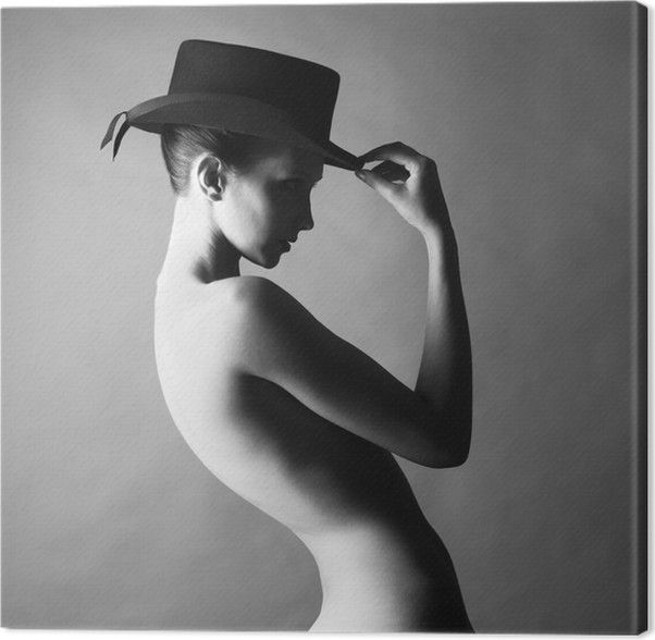 Naked lady with hat Canvas Print • Pixers® • We live to change 55c61597d5b