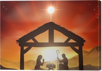 Nativity Christian Christmas Scene Canvas Print