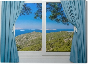 nature landscape with a view through a window with curtains Canvas Print