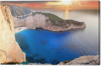 Navagio Beach with shipwreck in Zakynthos, Greece Canvas Print