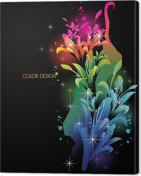 neon flowers color vector canvas print pixers we live to change