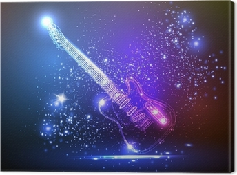 neon light guitar, grunge music Canvas Print