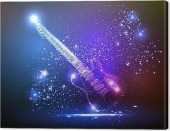 neon light guitar, grunge music Canvas Print