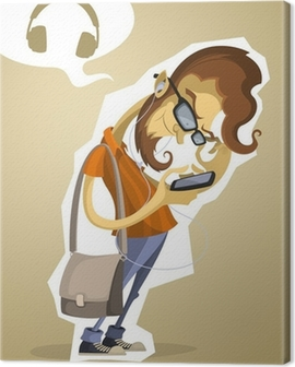 Nerd hipster with the phone and headphones Canvas Print