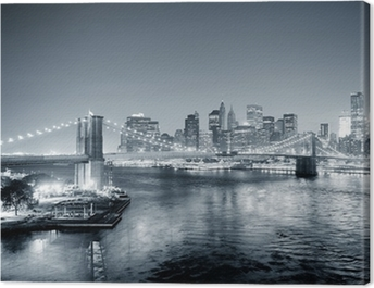 New York City Manhattan downtown black and white Canvas Print