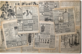 Newspaper pages with antique advertising Canvas Print