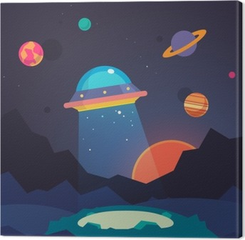 Night alien world landscape and ufo spaceship Canvas Print