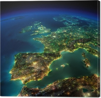 Night Earth. A piece of Europe - Spain, Portugal, France Canvas Print
