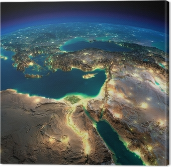 Night Earth. Africa and Middle East Canvas Print