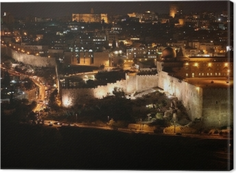Night in Jerusalem old city, Temple Mount with Al-Aqsa Mosque, v Canvas Print